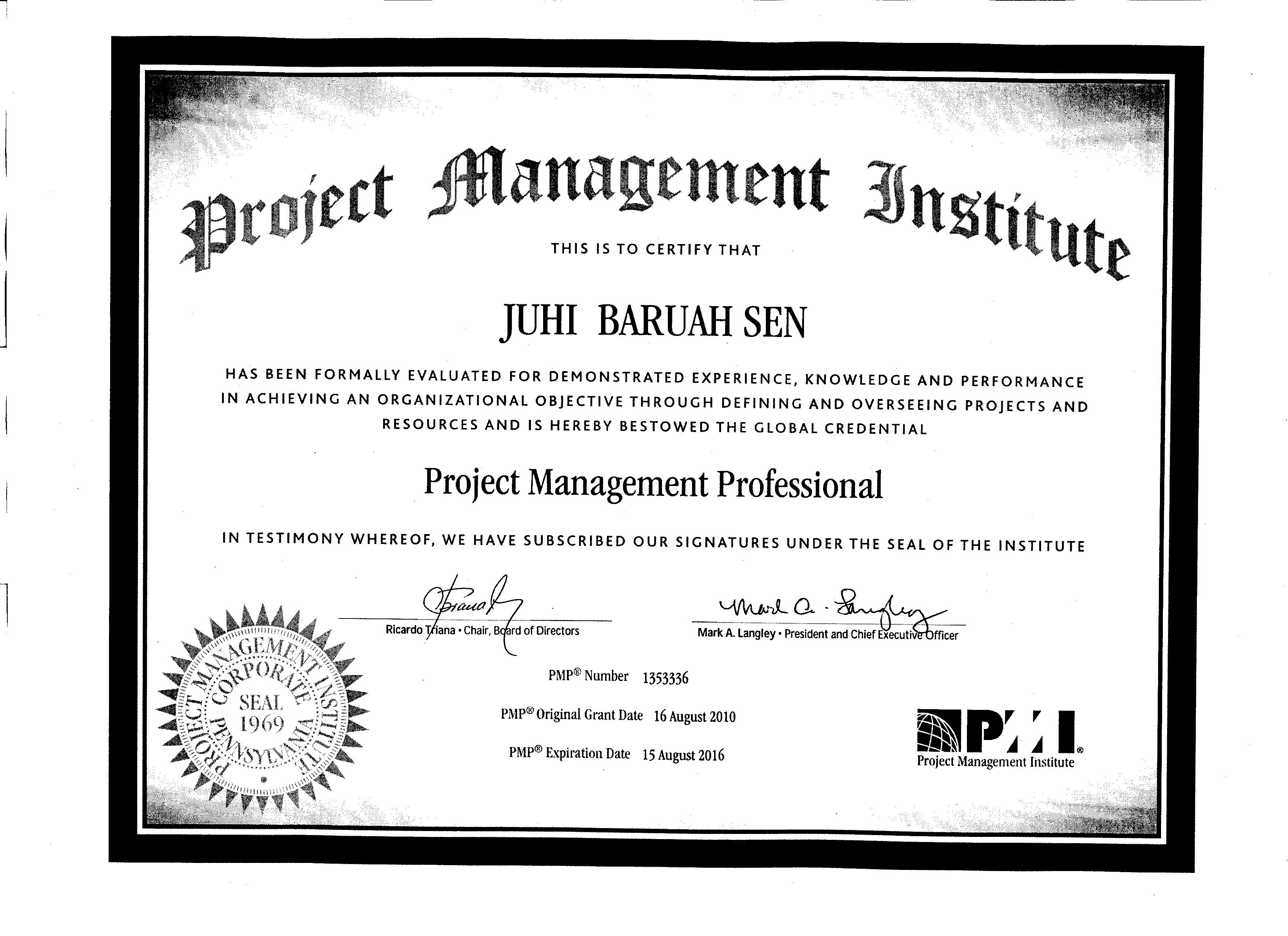 A certificate of project management awarded to our hr director juhi 001 1betcityfo Gallery